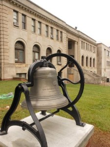 This 1890 bell from the 1889 Richmond County Court House has been restored by the Richmond County Historical Society for the county and is located on the grassy knoll between the 1924 Court House and new Judicial Center facing Lee Street, downtown Rockingham.