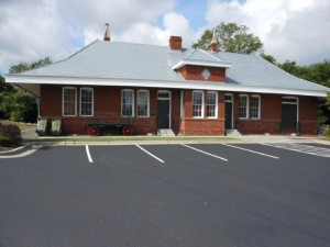 The Rockingham Seaboard Air Line Railroad Depot was moved from beside the railroad tracks on Caroline Street and was relocated to the southwest corner of U.S. 74 and U.S. 1 in downtown Rockingham.