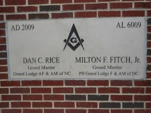 This cornerstone for the new Judicial Center in Rockingham was laid in 2009 by Dan C. Rice, Grand Master, Grand Lodge, AF&AM of NC; and Milton F. Fitch, Jr., Grand Master, Grand Lodge, F&AM of NC.